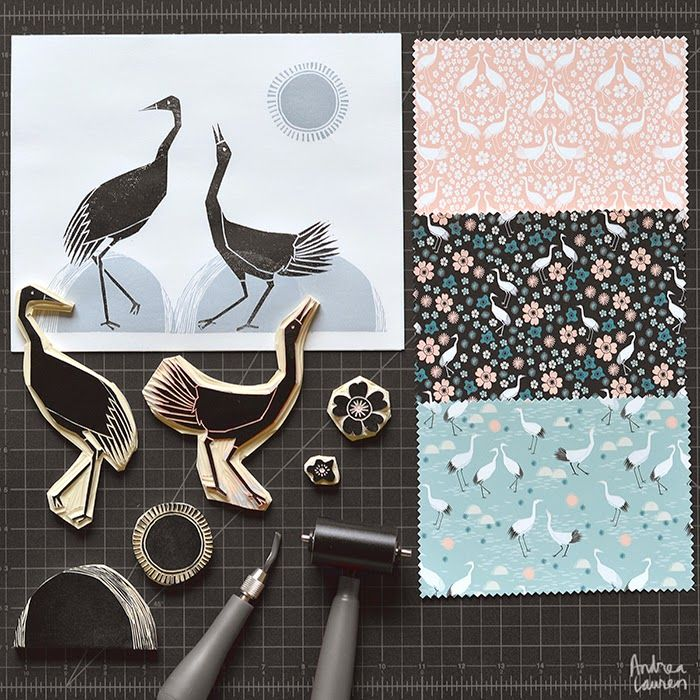 Andrea Lauren: Tsuru Blossoms - New Fabric Collection by Andrea Lauren