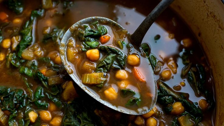Moroccan Chickpeas with Chard by Melissa Clarke, nytimes: An array of aromatic spices, along with chopped dried apricots and preserved lemons give this chickpea stew a complex, deep flavor, while chard stems and leaves lighten and freshen it up Served with couscous or flatbread, it's a satisfying meatless meal on its own Or serve it with roasted chicken, beef or lamb as a hearty side dish. #Stew #Chickpeas #Chard #Moroccan #Healthy