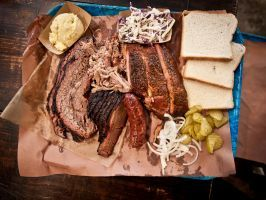 """Brisket : <p>Warning: <a adhocenable=""""false"""" href=""""/content/food/restaurants/tx/austin/f/franklin-barbecue-restaurant.html"""">Franklin Barbecue's</a> brisket will take five hours off your life — not just because of the heavy oak-smoked rush of flavor that's literally unlike anything else in the universe, but because scoring a bite requires arriving at the Austin institution around sunrise and waiting until its doors open at 11 a.m. It's a rite of passage among barbecue snobs that isn't for…"""