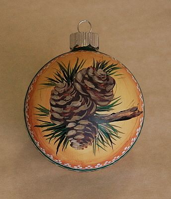 Hand Painted Christmas Ball Ornaments, Glass Ornaments Pine Cones & Holly Berry