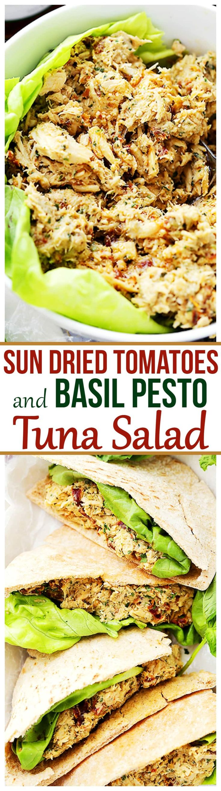 Sun Dried Tomatoes and Basil Pesto Tuna Salad - Combined with basil pesto and sun dried tomatoes, this tuna salad is about to become your next favorite salad recipe that is perfect for any summer picnic, a quick dinner, or a delicious lunch!   Points in recipe builder