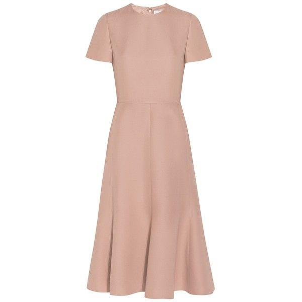 Valentino Ruffle Pleated Dress (75.185 RUB) ❤ liked on Polyvore featuring dresses, vestidos, valentino, neutral, midi dress, ruffle hem dress, cocktail dresses, pink evening dress and pink dress