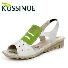 Más el tamaño (35-43) 2015 cuero Genuino de las mujeres planas sandalias cómodas de maternidad antideslizantes zapatos del estudiante sandalias de tacón bajo(China (Mainland))