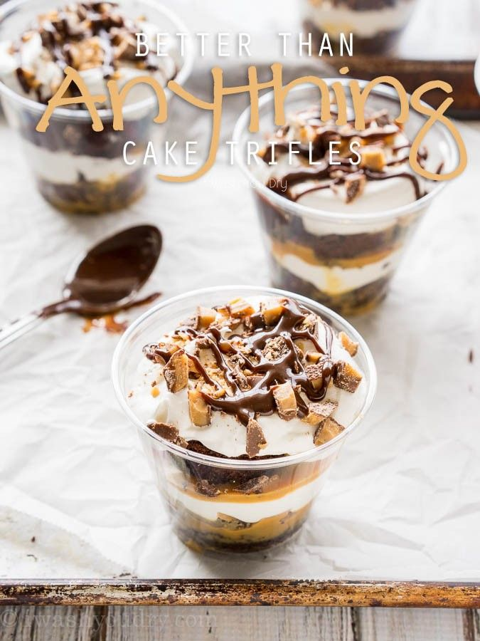 These Better Than Anything Cake Trifles are perfect for parties!!