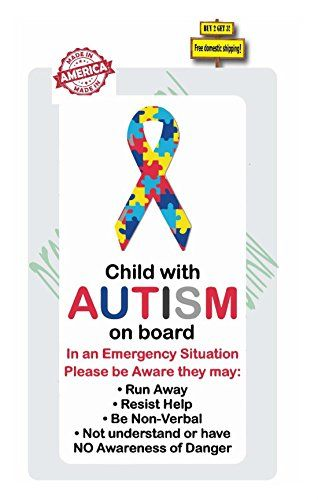 Autism Child On Board With Autism Safety Awareness Decal / Sticker All decals are made with premium high quality vinyl rated 5-7 years of out door useThese are great for back windows of cars or trucksThey measure appr...  #Autism #AutismAwareness #AutismHour #AutismInMyLife #AutismParents #AutismTMI #Autistic #Awareness #Board #Child #Decal #safety #Sticker