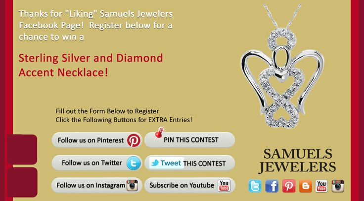 I just entered the Samuels Jewelers' 'Celebrate Savings. Click this Pin to see how to enter to win a  Sterling Silver and Diamond Accent Necklace