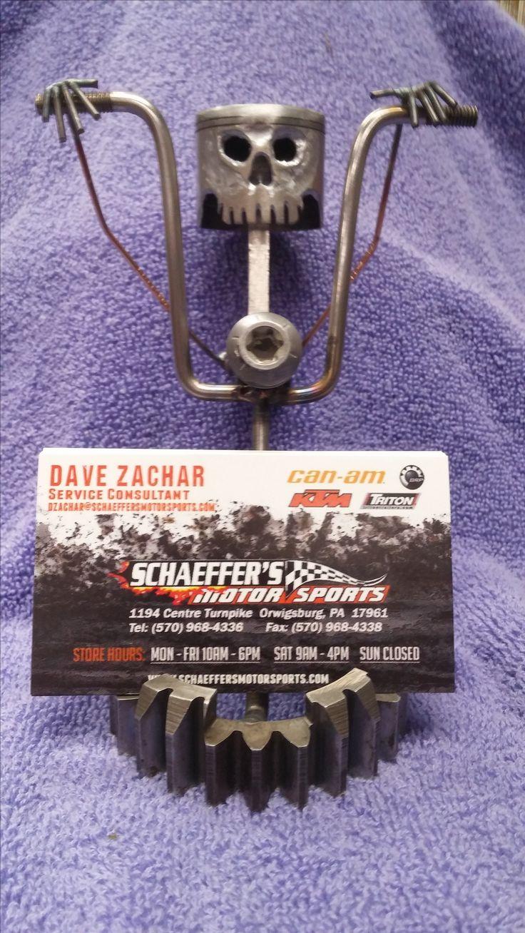 I can make custom weld art business card holders. This one