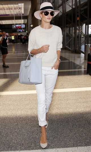 Click for amazing airport style from models like Rosie Huntington-Whiteley, Kendall Jenner, Miranda Kerr, Gigi Hadid, and more.