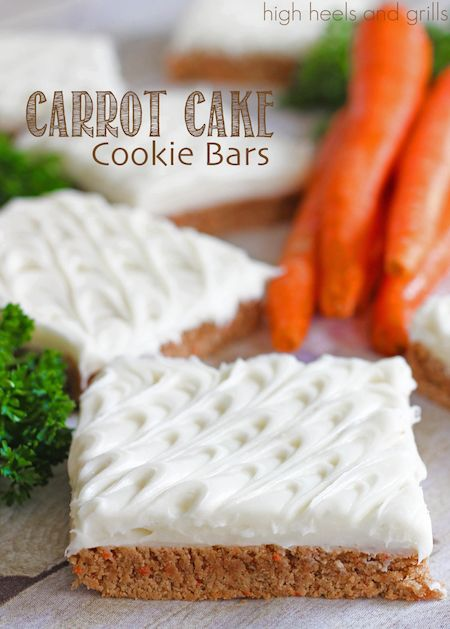 Carrot Cake Cookie Bars. Easy Easter dessert. http://www.highheelsandgrills.com/2014/04/carrot-cake-cookie-bars.html