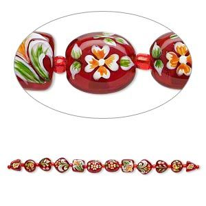 Bead, lampworked glass, red and multicolored, 11x11x10mm-15x15mm double-sided multi-shape with hand-painted floral design. Sold per 7-inch strand.