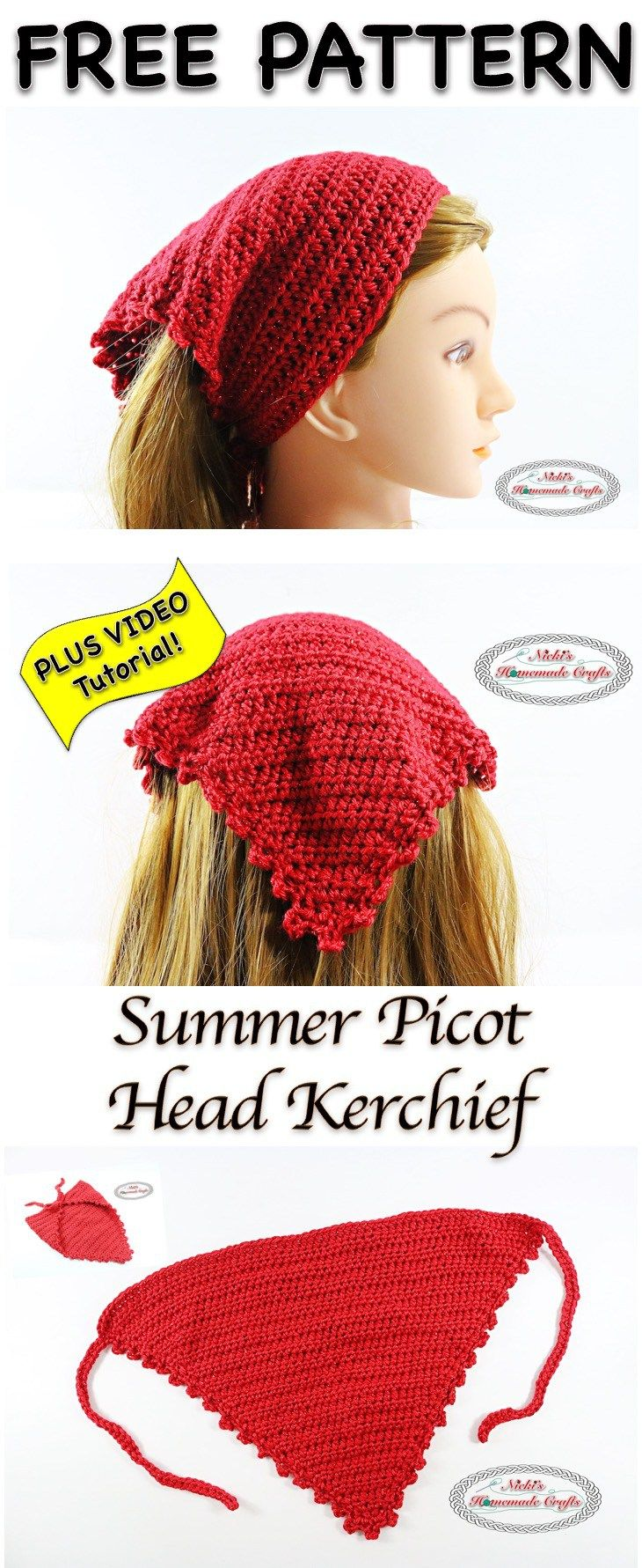 Summer Picot Head Kerchief - Free Crochet Pattern and video at Nicki's Homemade Crafts.