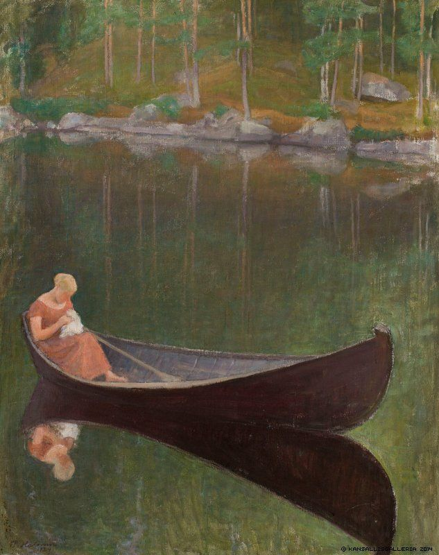 Pekka Halonen (1865-1933) Nainen veneessä / Woman in a boat 1924 - Finland