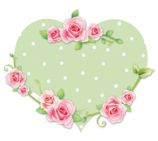 printable image - heart with pink rose border