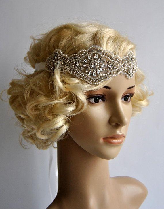 Crystal Rhinestone & Pearls flapper Gatsby Headband, Wedding Headband, Wedding Headpiece, Halo Bridal Headpiece, 1920s Flapper headband  $40.00 USD