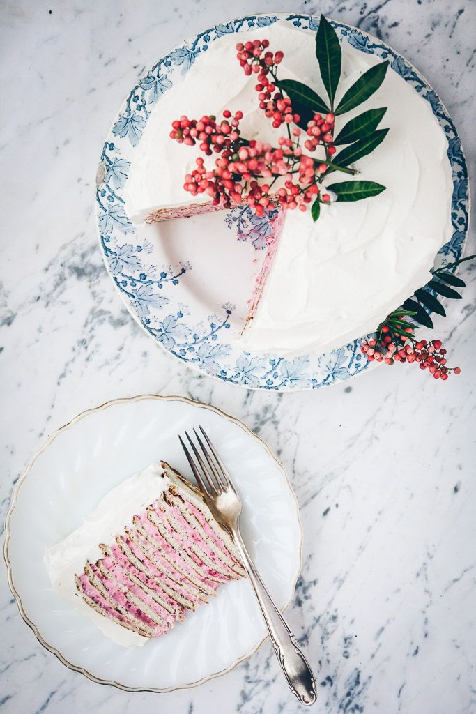 almond crepe cake with raspberry rose cream on millys-kitchen.com