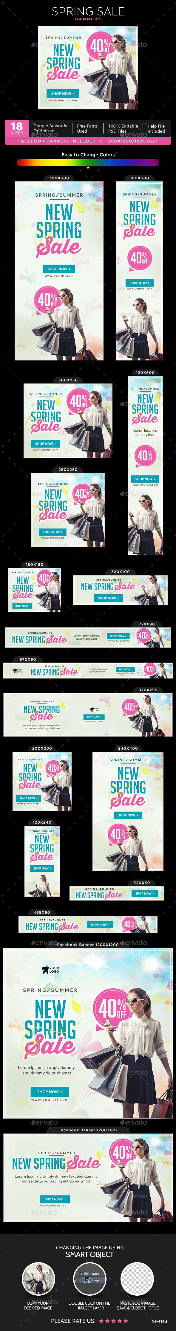 Spring Sale Banners — Photoshop PSD #gif banner #banner pack • Available here → https://graphicriver.net/item/spring-sale-banners/15233791?ref=pxcr