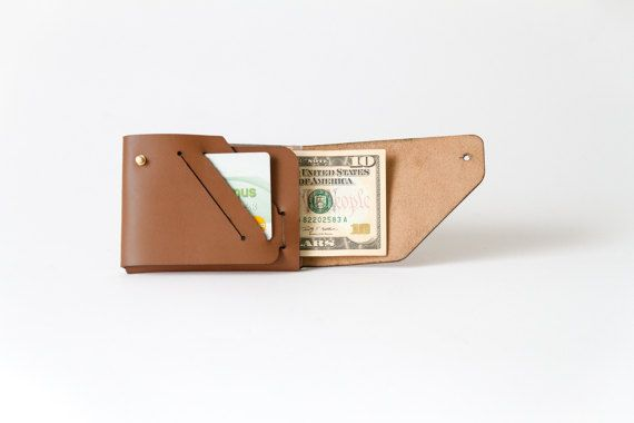 Mone'Fold Seamless Leather Wallet - Brown Color- Minimalist Folded - Genuine Leather