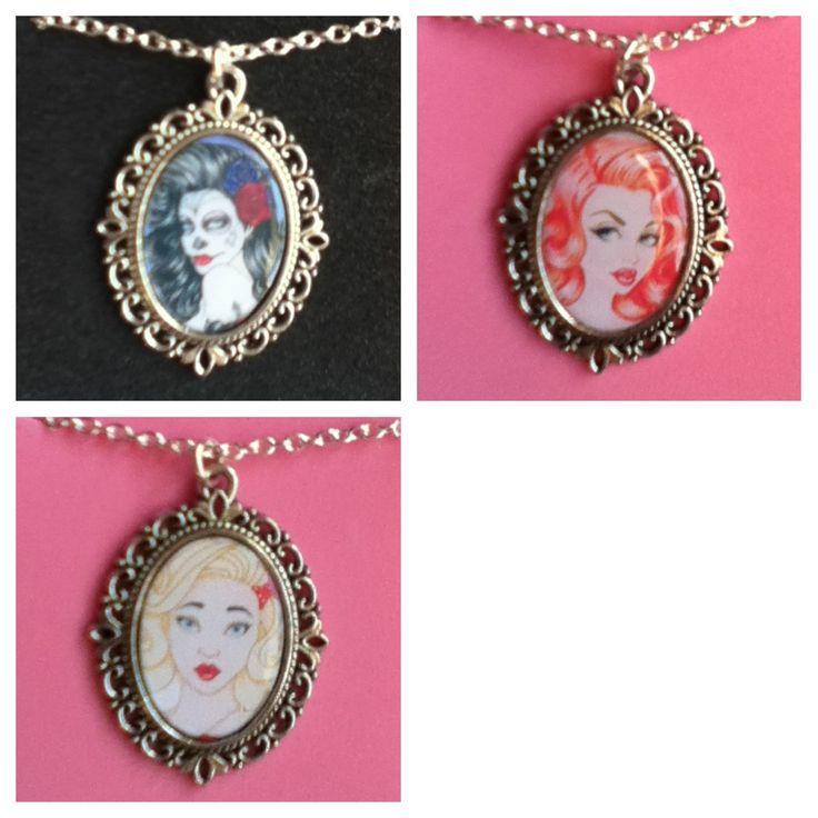 Silver cameo necklaces