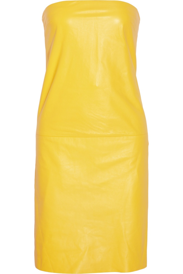 Ralph Lauren Collection Eugenia strapless leather dress (bright-yellow)