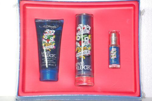 Ed Hardy Love & Luck Men Gift Set by Ed Hardy. $59.99. EAU DE TOILETTE SPRAY, 1.7 Fl. Oz. 50 mL. HAIR & BODY WASH, 3 Fl. Oz. 90 mL. EAU DE TOILETTE SPRAY, .25 Fl. Oz. 7.5 mL. $128 Value Now Only $59.99. Ed Hardy LOVE & LUCK MAN Gift Set. Ed Hardy Love & Luck for men is described as a bright, eclectic mix of fruits and fresh scents.  They include bergamot, orange, mandarin, cardamom. It has a heart of absinthe, sage, cypress and violet and a drydown of musk, ce...