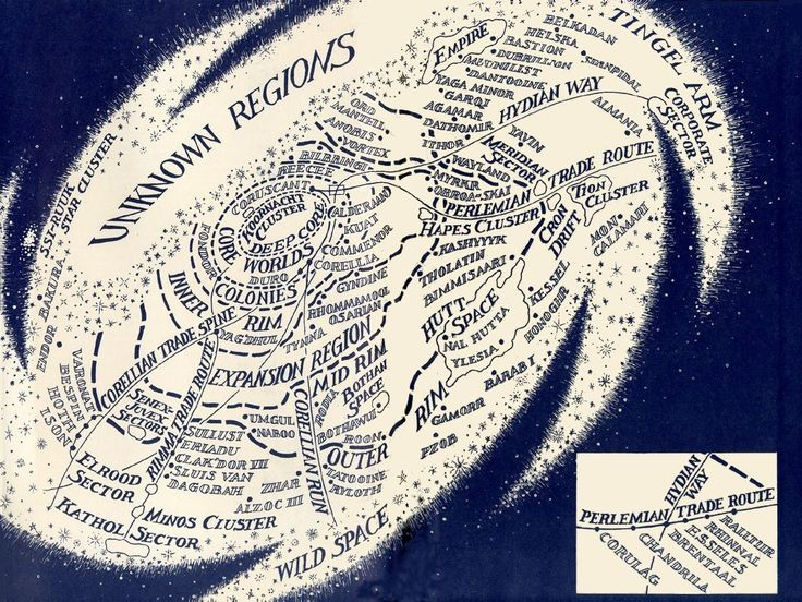 """Map of the Star Wars Galaxy, from the inside cover of the """"Vector Prime"""" book."""