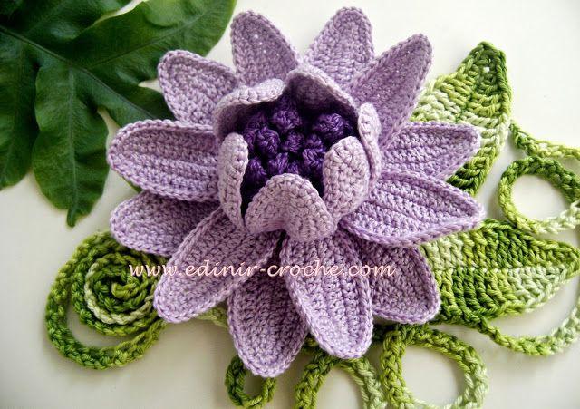 Flores repolhudas em crochê - Edinir-Crochê