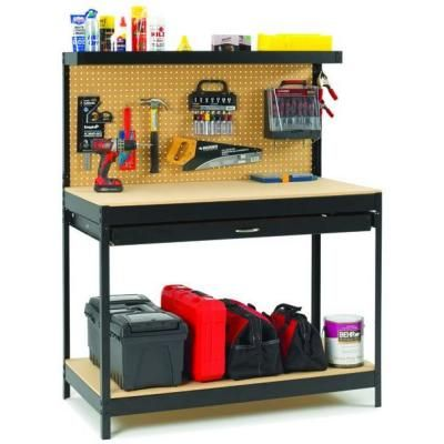 Dateline Workshop 4 ft. Wide by 5 ft. Tall by 2 ft. Deep Black Steel Workbench-PR250 - The Home Depot