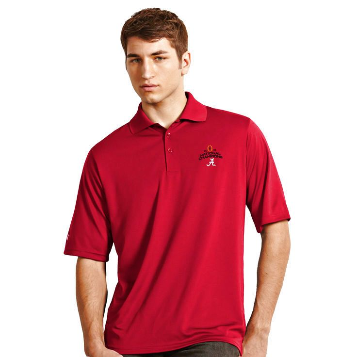 Alabama Crimson Tide Antigua College Football Playoff 2015 National Champions Exceed Desert Dry X-tra Lite Polo - Crimson - $37.04