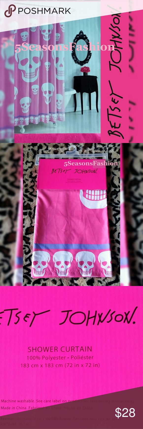 "BETSEY JOHNSON Skull Shower Curtain Pink Halloween 🌸Last one in stock🌸 BRAND NEW WITH TAGS! Decorate your bathroom in style with this fab Betsey Johnson shower curtain. 72""x72"" 100% Polyester fabric. Pink, white and purple color combination. Glam Halloween bathroom decor. Also perfect for all year round 💀💕💋 Betsey Johnson Other"