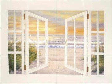 Tile Mural - Dr-Sunset Beach - Kitchen Backsplash Ideas - traditional - Tile Murals - The Tile Mural Store (USA)