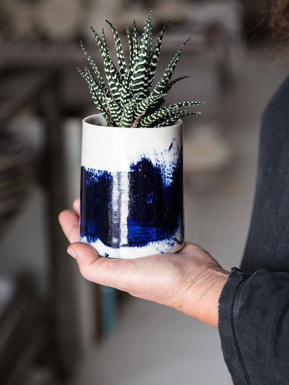 Ceramic Planter With White And Blue,Ceramic Pot,Succulent Planter,Housewarming Gift,Mother's Days Gift,READY TO SHIP