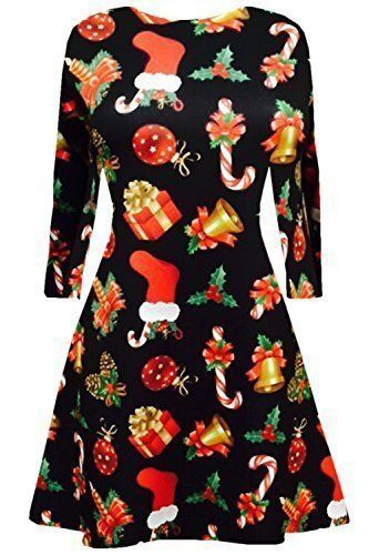 Oops Outlet Femmes Manches Longues Olaf Santa Cadeaux Cloches Bonhomme de neige Noël impriméÉvasé Robe Évasée Haut Grande Taille UK 8-22 –…