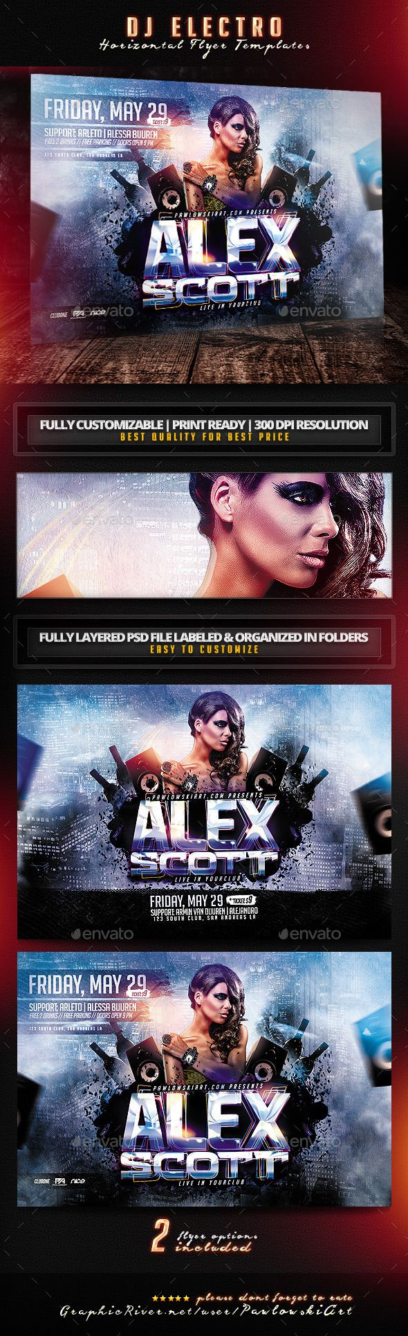 DJ Electro Horizontal Flyer Templates - Clubs & Parties Events