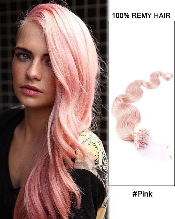 """16"""" Pink Body Wave Micro Loop 100% Remy Hair Human Hair Extensions-50 strands, 1g/strand"""