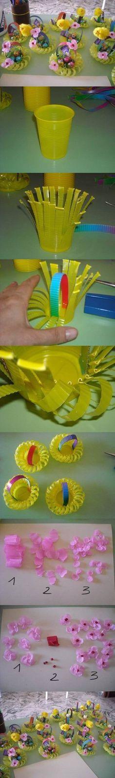 DIY Plastic Cup Easter Basket #craft #Easter