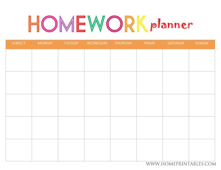 83 best College Orgainzation images on Pinterest Free printable - homework calendar templates