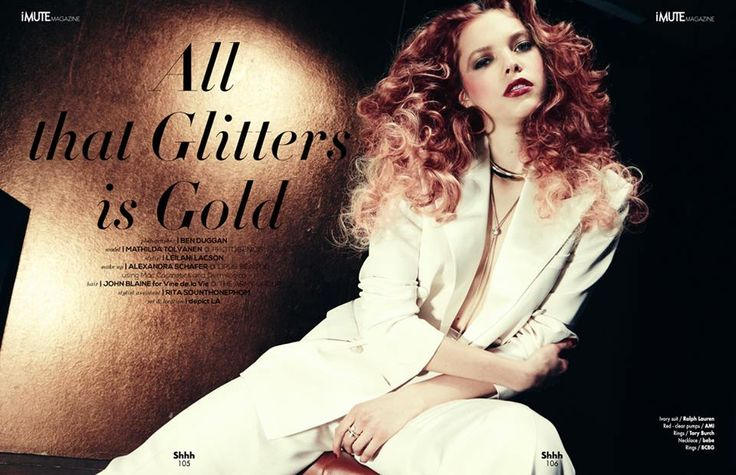 All that Glitters is Gold Editorial - iMute Magazine Summer Issue #11 2015 Photographer | Ben Duggan Model | Mathilda Tolvanen @ Photogenics Stylist | Leilani Lacson Make up | Alexandra Schafer @ Opus Beauty using MAC Cosmetics & Dermilogica Hair | John Blaine Hair for Vine de.la Vie @ The Army Group Stylist Assistant | Rita Sounthonephom Set & Location | Depict LA