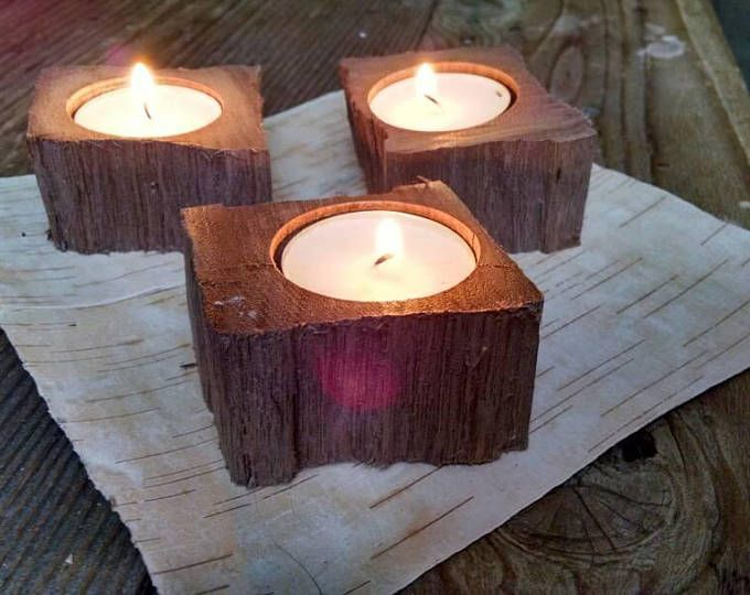 Hand Wrought Black Walnut Wood Tea Light Candle Holder With Soy