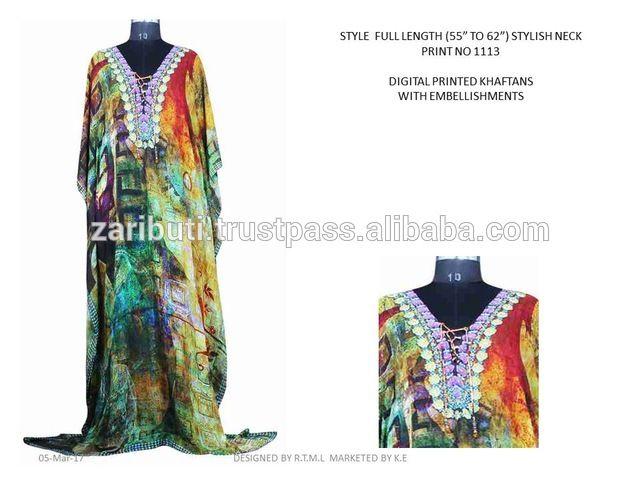 Source K.E-KFT-1113 Arabic Kaftan dress India Wholesale , Digital Print Kaftan with Embellishments , Long Kaftan on m.alibaba.com