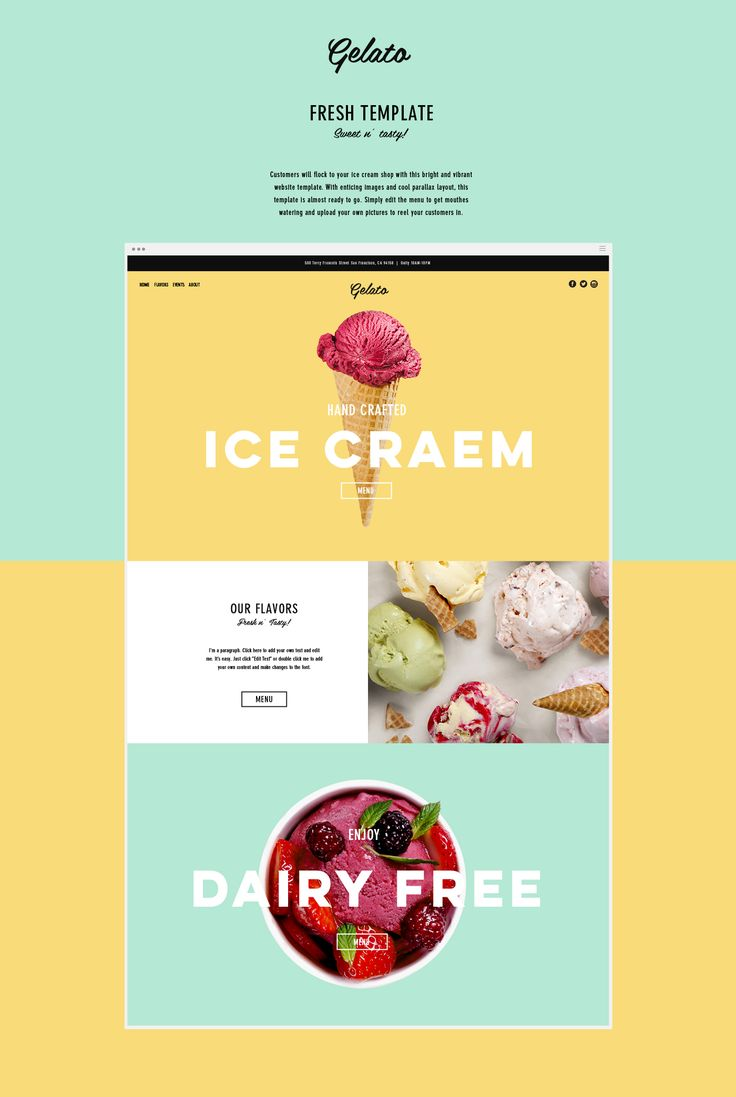 Customers will flock to your ice cream shop with this bright and vibrant website…