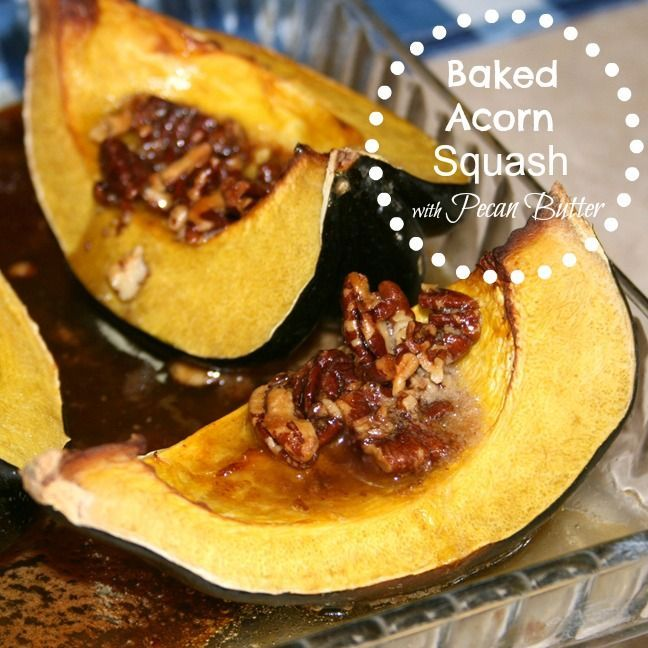 Baked Acorn Squash with Maple Pecan Butter! Sire to become a family favorite recipe. #squash #recipe