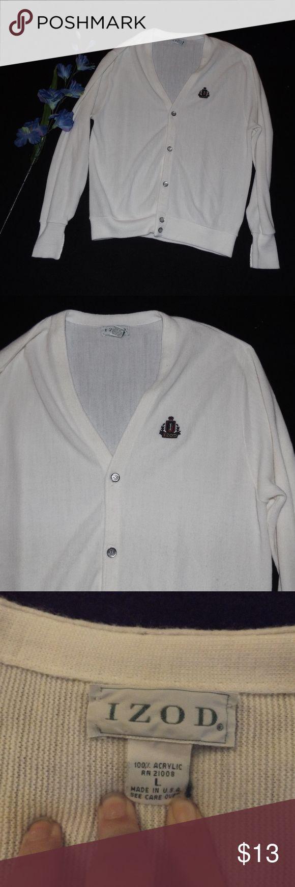 Izod Men Large White Cardigan Preppy Izod Men Large White Cardigan Preppy Izod Sweaters Cardigan