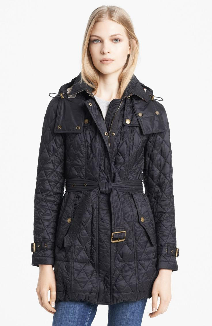 Burberry Brit 'Finsbridge' Belted Quilted Jacket
