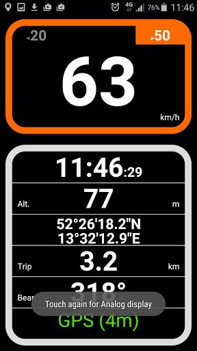"""Easy Speedometer Pro v1.97   Easy Speedometer Pro v1.97Requirements:3.2Overview:Use this GPS speedometer with altitude geo-location bearing and current time especially when you are not driving a car but going by bicycle by train by boat or even by airplane.  Use this GPS speedometer with altitude geo-location bearing and current time especially when you are not driving a car but going by bicycle by train by boat or even by airplane.  With """"HUD"""" (head up display) turned on you can put your…"""