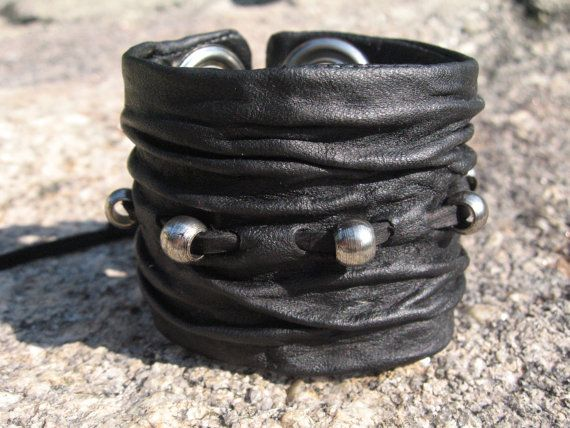 Sculpted  Leather Wristband  Black Leather Cuff Bracelet Mens Womens Urban Jewelry via Etsy