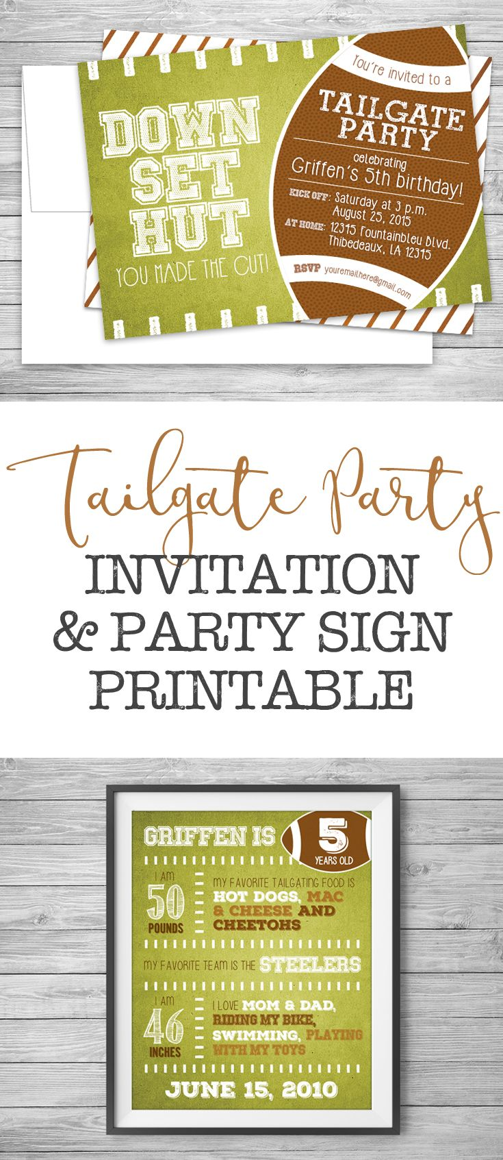 Custom Tailgate Party Invitation and Party Sign Printable at #NviteCP