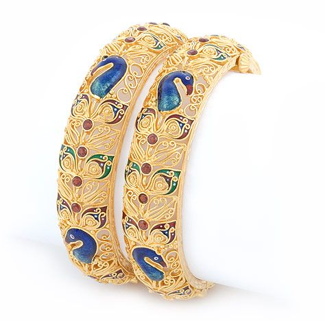 Peacock Gold Indian Bangles