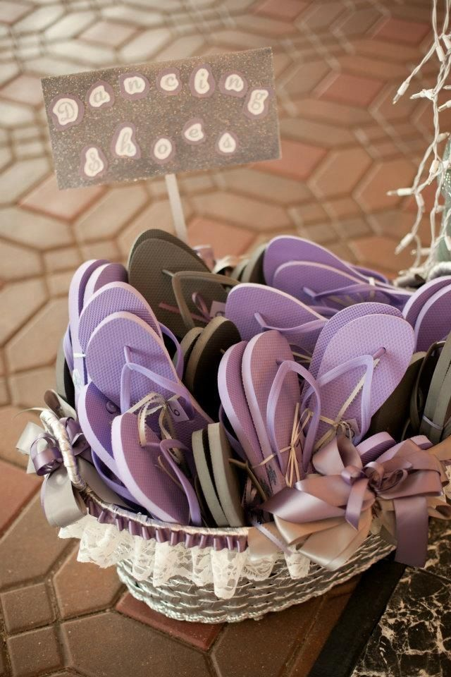 Wedding flip flops for guests grey and purple dancing shoes http://alldeckdout.blogspot.com