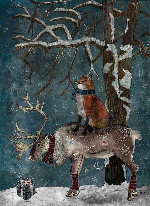 WINTER TALE, greeting card, fox and reindeer winter card
