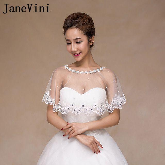 Janevini White Girls Lace Bolero Bridal Shawls Evening Wedding
